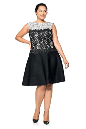 2f5c10681c4 Tadashi Shoji Women's Plus Size Sleeveless Dress W Lace Bodice &Neoprene  Tuck Skirt, Black/