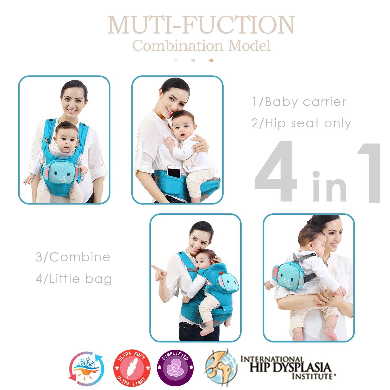 Orange SONARIN 4 en 1 multifonction Cartoon Hipseat Baby Carrier,Porte-b/éb/é,Ergonomique,Respirant,Confortable et apaisante pour b/éb/és,Adapt/é /à la croissance de votre enfant,Id/éal Cadeau