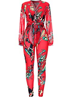 f1e6d387e5fc 2 Piece Outfits for Women Floral Print Long Sleeve Chiffon Blouse + Bodycon  Stretch Long Pants