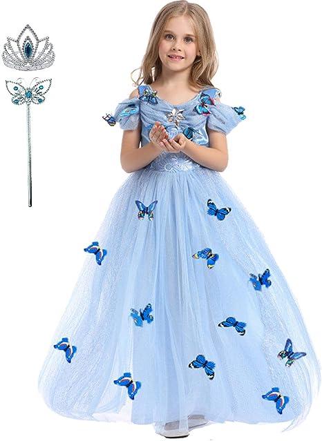 Deguisement Princesse Fille Liuimiy Robe Enfant Carnaval Costume Bleu D Halloween Cosplay Anniversaire Fete Avec Couronne Baguette 98 104 Lable 100 2 3ans Amazon Fr Bebes Puericulture