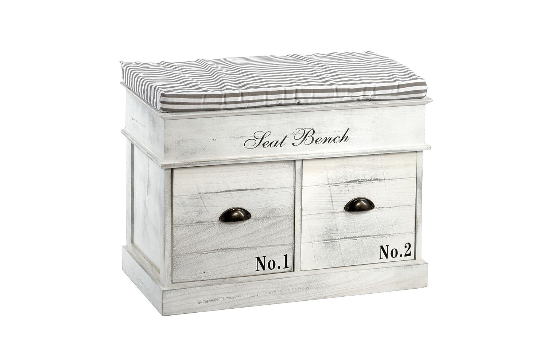 Geko White Wood Seat Bench 2 Drawers 70 x 35 x 50cm, 70 x 35 x 50 cm N0210