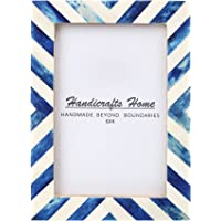 Handicrafts Home 4x6 Picture Photo Frame Chevron Herringbone Art Inspired Vintage Wall Décor Gift Frames [4x6 Blue] –