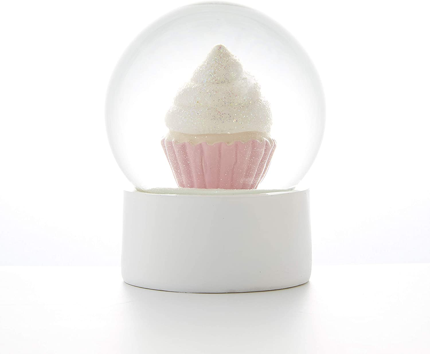 Sette Decor Pink Cupcake Snow Globe Water Globes 4 Inch Desk Decor Home Decoration for Girls Kids Child Granddaughters Babies Birthday Gift, 100 Mm Resin/Glass Snowglobe