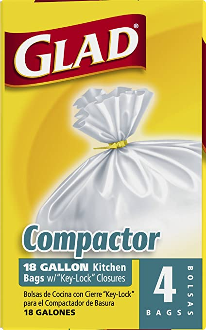 Amazon.com: Glad Compactor Kitchen Trash Bags   18 Gallon   4 Count: Prime  Pantry