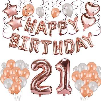 Howaf Decoración de cumpleaños 21 en Oro Rosa, 59 Piezas ...