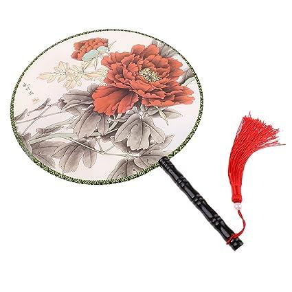 Buy magideal vintage round japanese chinese hand fan for home magideal vintage round japanese chinese hand fan for home wedding decoration dia 24cm type9 junglespirit Gallery