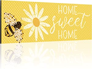 Jetec Home Sweet Home Wood Sign Bee Wooden Wall Sign Farmhouse Sweet Home Wooden Plaque Rustic Home Decoration for Wall Door Home Decor, 15.7 x 5.1 Inches