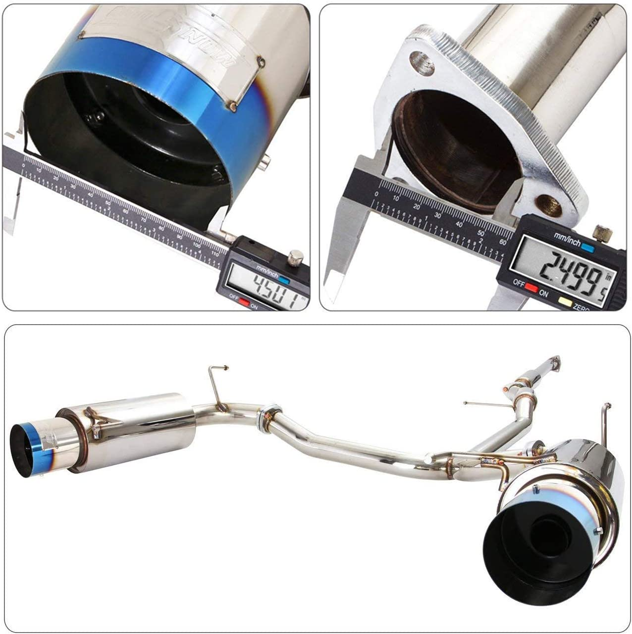 Fit 1998-2002 Honda Accord V6 2.5 Inch Stainless Steel Catback Exhaust System 4.5 Inch Muffler Burned Tip 3.0L SOHC Engine Only