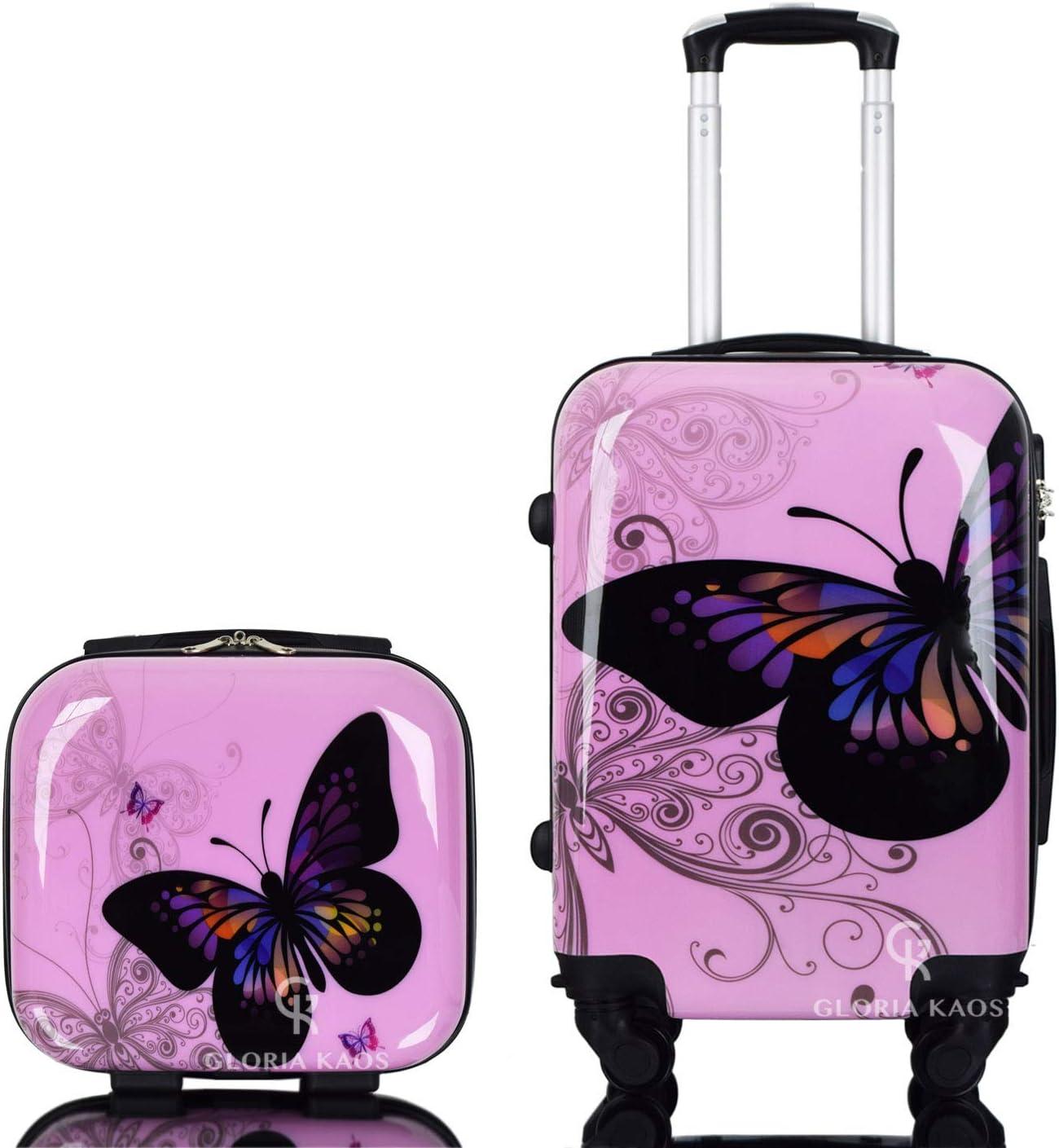 Gloria Kaos - Set bis - Maleta de Policarbonato Flexible Ultraligera para Equipaje de Mano (Mariposa Rosa 50cm + Vanity Case)