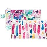 Bumkins Reusable 2 Piece Snack Bag, Watercolor/Brushstrokes, Small