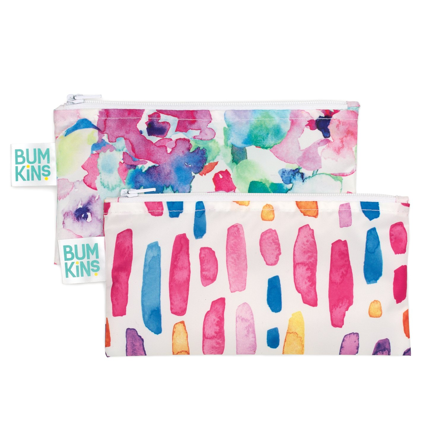 Bumkins Snack Bags, Reusable, Washable, Food Safe, BPA Free, 2-Pack – Watercolor & Brushstrokes