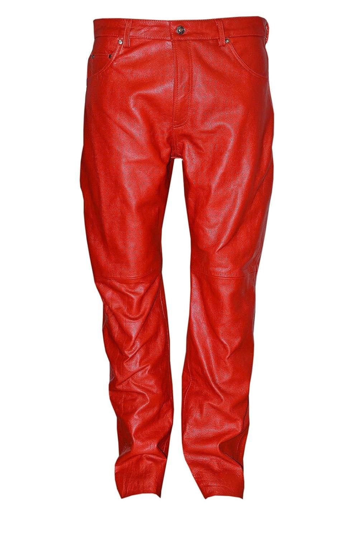 STYLE 501 Männer rot reale echtes Leder- ausblenden Motorradfahrer Jeans Hosen