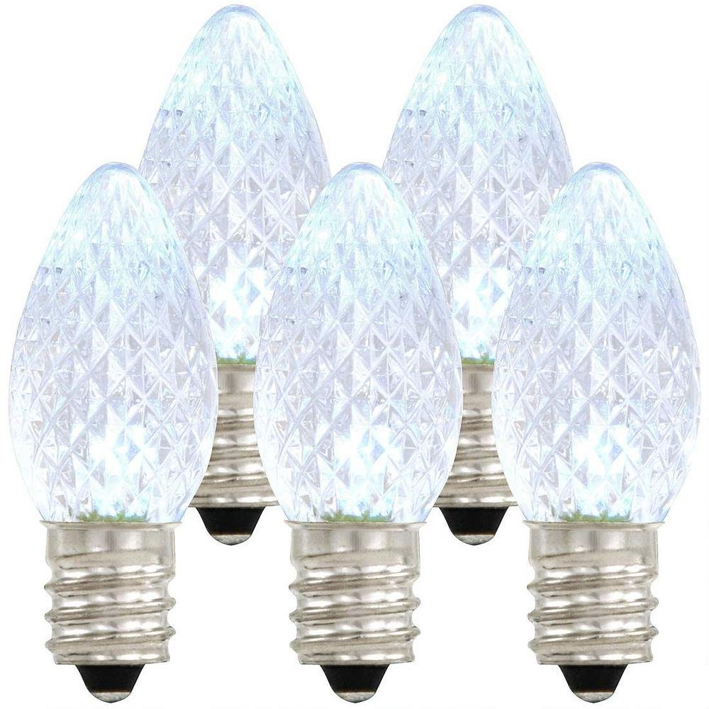 Holiday Lighting Outlet LED C7 Cool White Replacement Christmas Light Bulbs, Commercial Grade, 3 Diodes (Led's) in Each Bulb, Fits Into E12 Sockets, Pack of 500 Bulbs