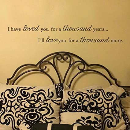 03a8085f90 Amazon.com: MairGwall Lettering Mural I'll Love You For A Thousand More.  Romantic Decor for Anniversary,Wedding,Couple Room(White, 9