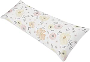 Sweet Jojo Designs Yellow and Pink Watercolor Floral Body Pillow Case Cover (Pillow Not Included) - Blush Peach Orange Cream Grey and White Shabby Chic Rose Flower Farmhouse Polka Dot