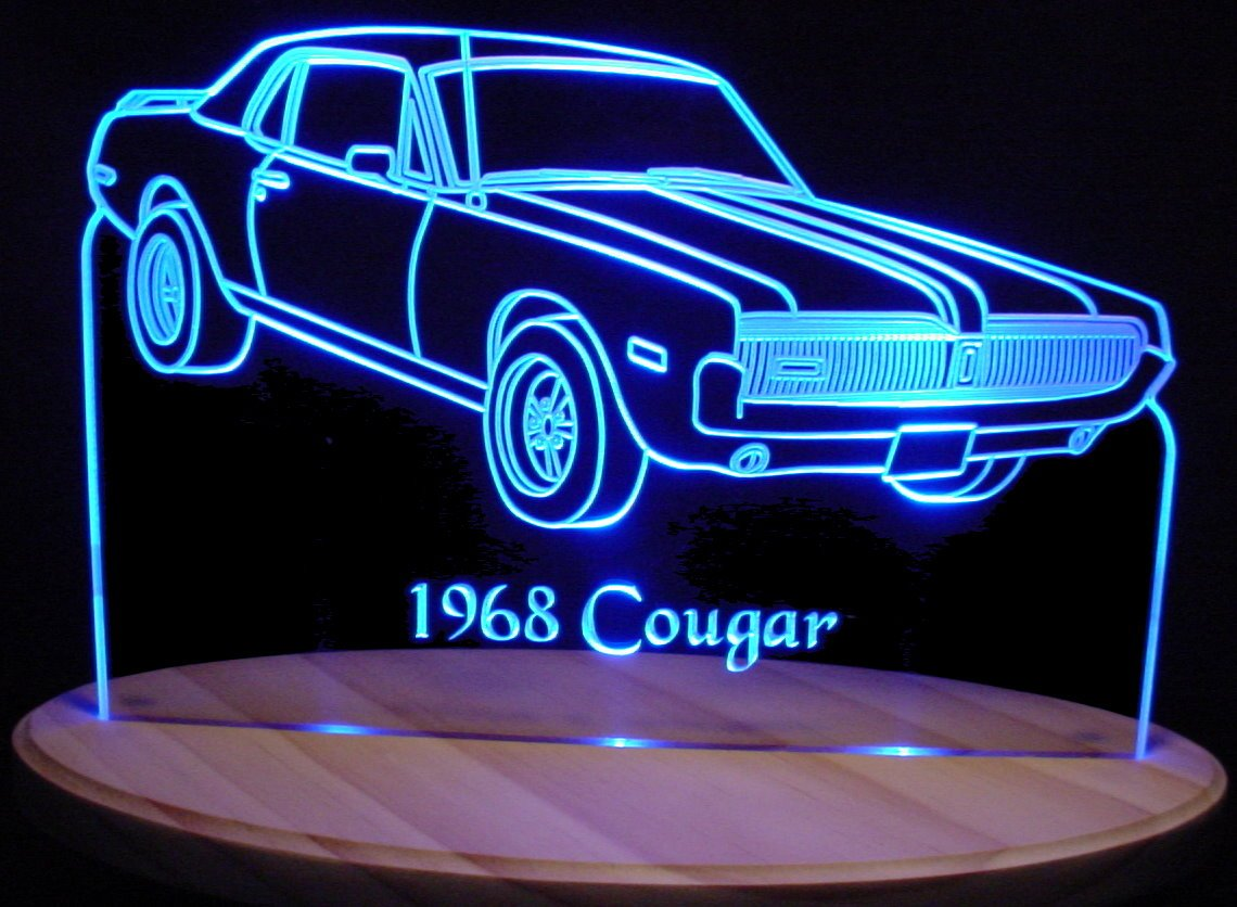 1968 Cougar Acrylic Lighted Edge Lit 13'' LED Sign / Light Up Plaque 68 VVD5 Made in USA