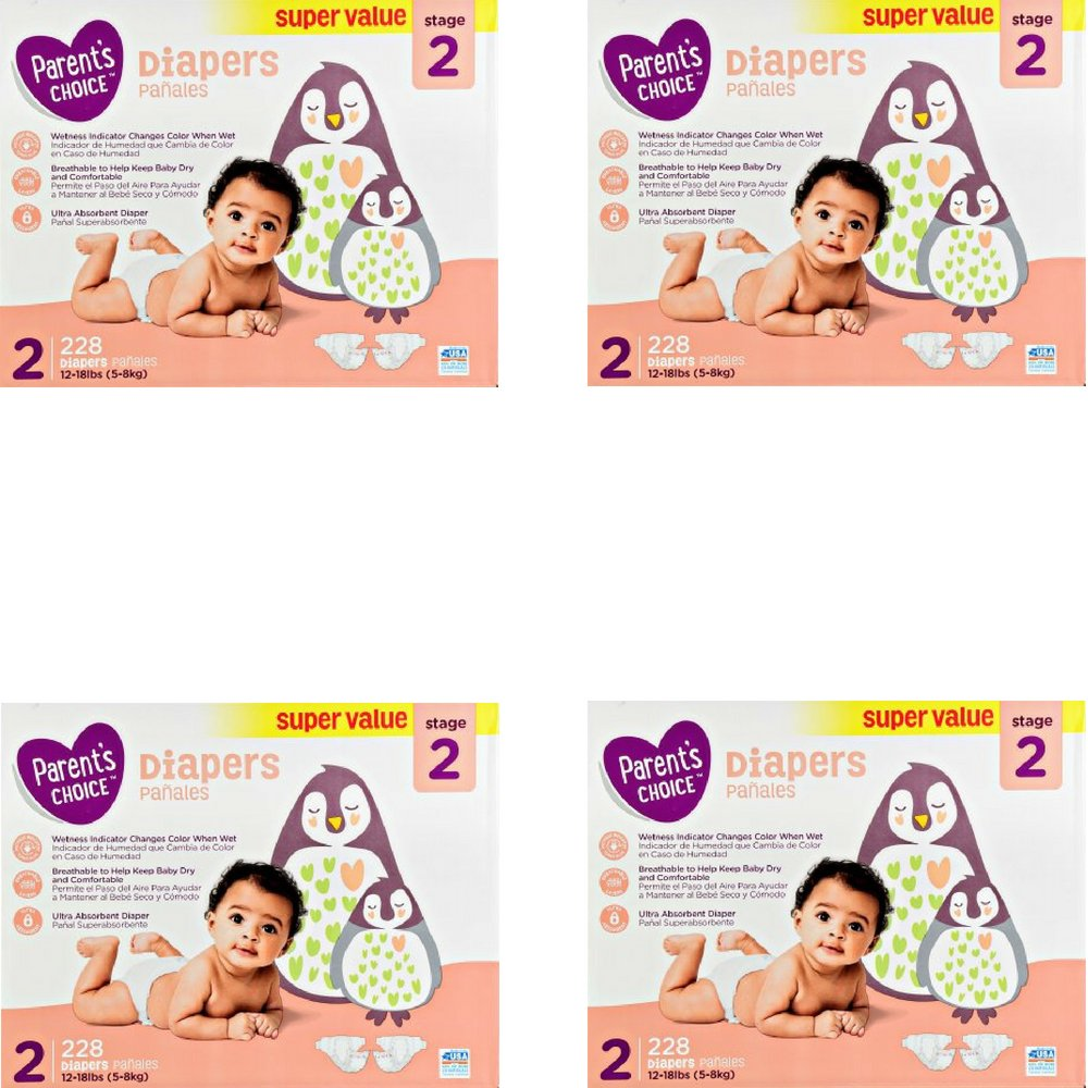 Branded Parent's Choice Diapers (Size 2 (228 ct), 4 Pack)