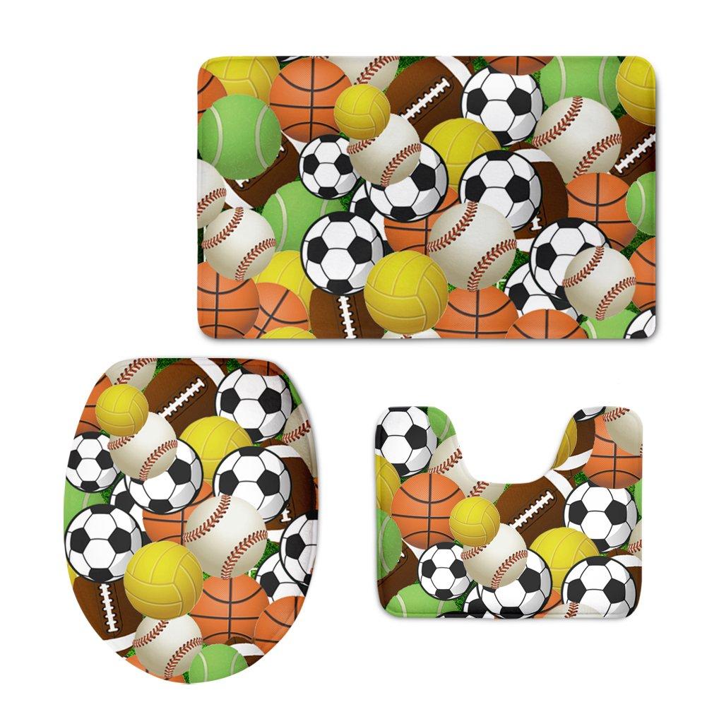 Para U diseños 3 Piece Cool balón de fútbol alfombra de baño para ...
