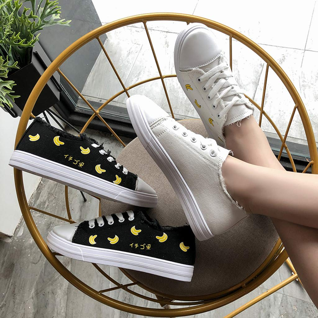 Women Ladies Fashion Casual Shoes Banana Lace Up Canvas Sneakers Student Sport Shoes Walking Shoes