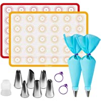 """Silicone Baking Mats Kit, Baking Set of 2 Half Sheet Silicone Baking Mats, 6 Piping Tip, 2 Piping Bag and 2 Bag Tie - Reusable Nonstick Liners for Baking Pans and Cookie Sheets(16""""x11.8"""")"""