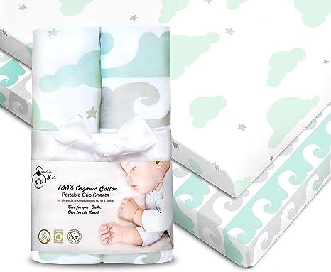 Cambria Baby - Sábanas bajeras ajustables de algodón orgánico para pack n Play y otras minicunas portátiles,