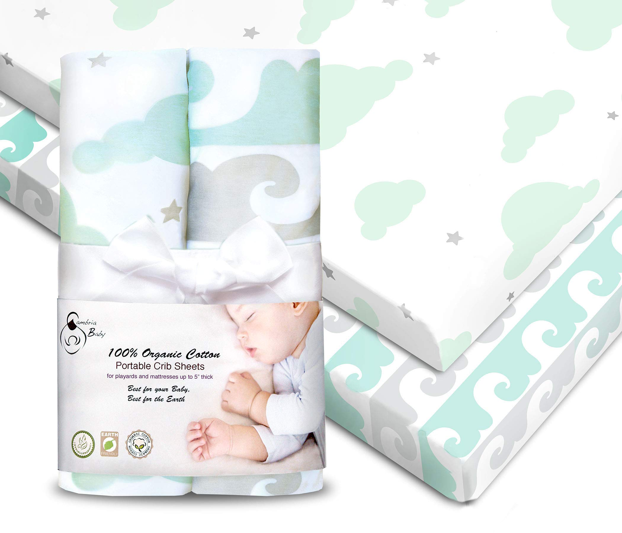 2 Pack 100% Organic Cotton Fitted Sheets for Pack 'n Play and Other Portable/Mini Cribs, Mint/Gray, Unisex for Boy or Girl, 2 Pack, Playard and Mattress