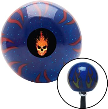 Up in Flames Skull Blue Flame Metal Flake with M16 x 1.5 Insert American Shifter 298426 Shift Knob