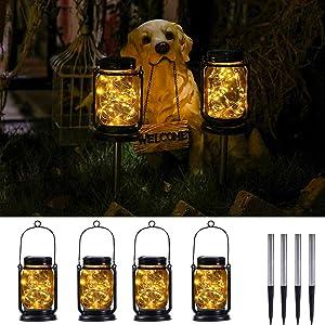 YUEFA Solar Mason jar Lantern, Outdoor Waterproof, Hanging Solar Garden Lights lantrens,for DIY Festival,Garden Patio and Outdoor Large Lawn Decoration (4 Pack)