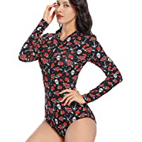 AS ROSE RICH Women's Rash Guard Long Sleeve Bathing Suits for Women 1 Piece Printed Zipper Front Surfing Swimsuits