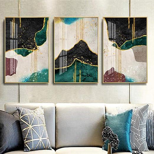 Nobrand Abstraktes Gold Dunkelgrun Muli Farbdruck Leinwandbilder Wandkunst Poster Bild Fur Wohnzimmer Interior Home Decoration No Frame 30x40cmx3 Amazon De Kuche Haushalt