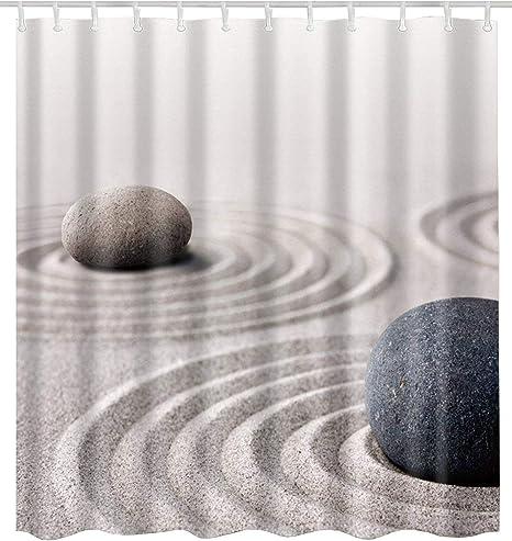 Waterproof Fabric Spa Massage Black Zen Stones Shower Curtain Liner Bathroom Mat