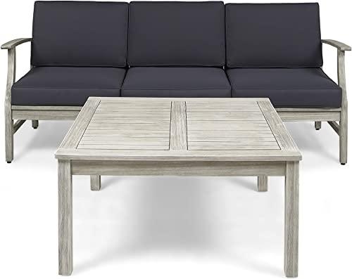 Great Deal Furniture Lorelei Outdoor 4 Piece Acacia Wood Sofa and Coffee Table Set