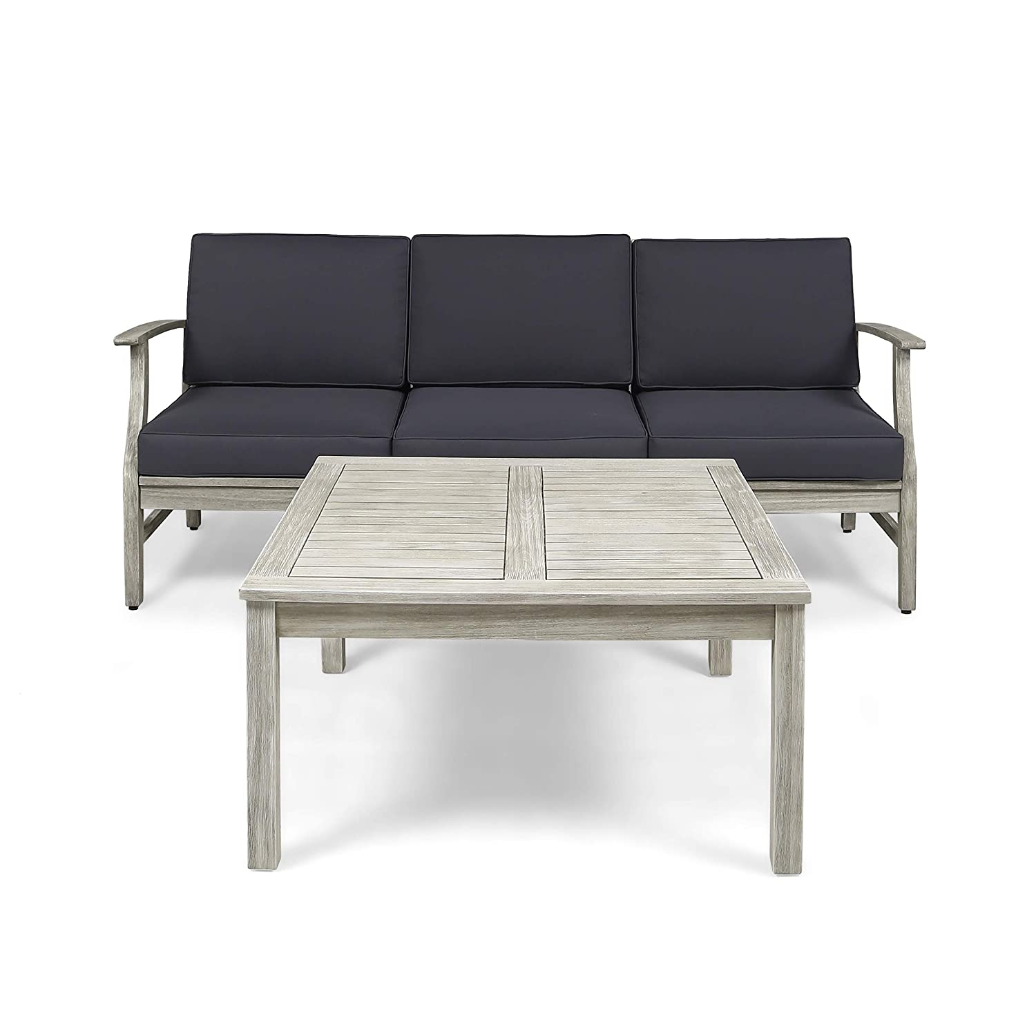 Great Deal Furniture Lorelei Outdoor 4 Piece Acacia Wood Sofa and Coffee Table Set, Light Gray and Dark Gray