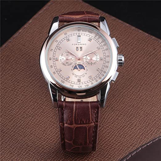 Amazon.com: Forsining Moon Phase Rose Gold Case Brown Genuine Leather Strap Mens Watches Luxury Automatic Watch: Watches