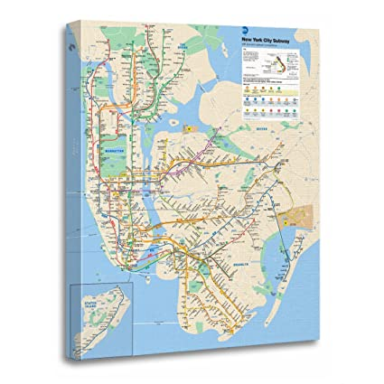 New York Subway Map To Print.Amazon Com Torass Canvas Wall Art Print Train New York Subway Maps