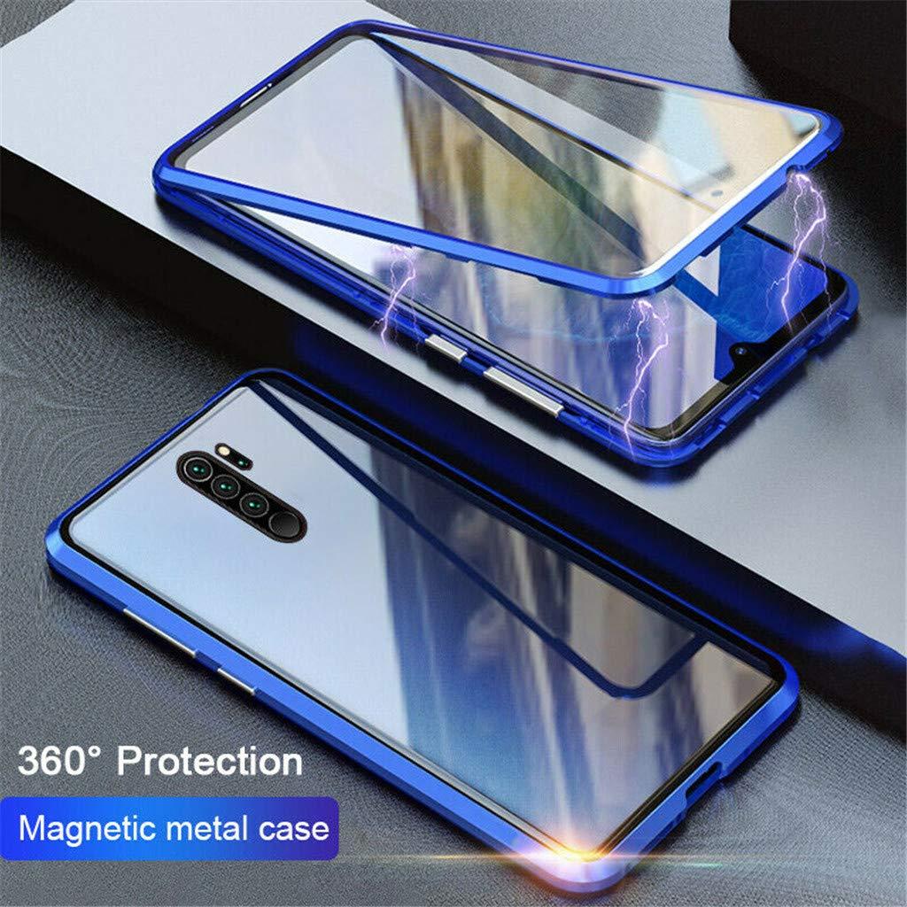 marco de parachoques de metal con tecnolog/ía de adsorci/ón magn/ética fuerte cubierta de vidrio templado transparente frontal y posterior de 360 grados Compatible con la carcasa del tel/éfono Xiaomi