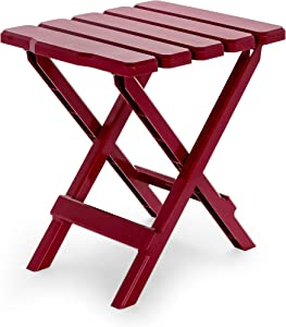 Camco Adirondack Portable Outdoor Folding Side Table - Perfect for The Beach, Camping, Picnics, Cookouts and More - Weatherproof and Rust Resistant - Red (21034)