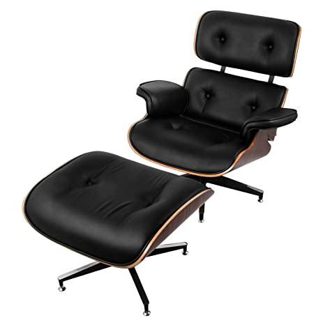 Awesome Mophorn Lounge Chair With Ottoman Pu Leather Mid Century Modern Replica Style Swivel Recliner Chair High Grade Vintage Black Recliner Armchair With Ibusinesslaw Wood Chair Design Ideas Ibusinesslaworg