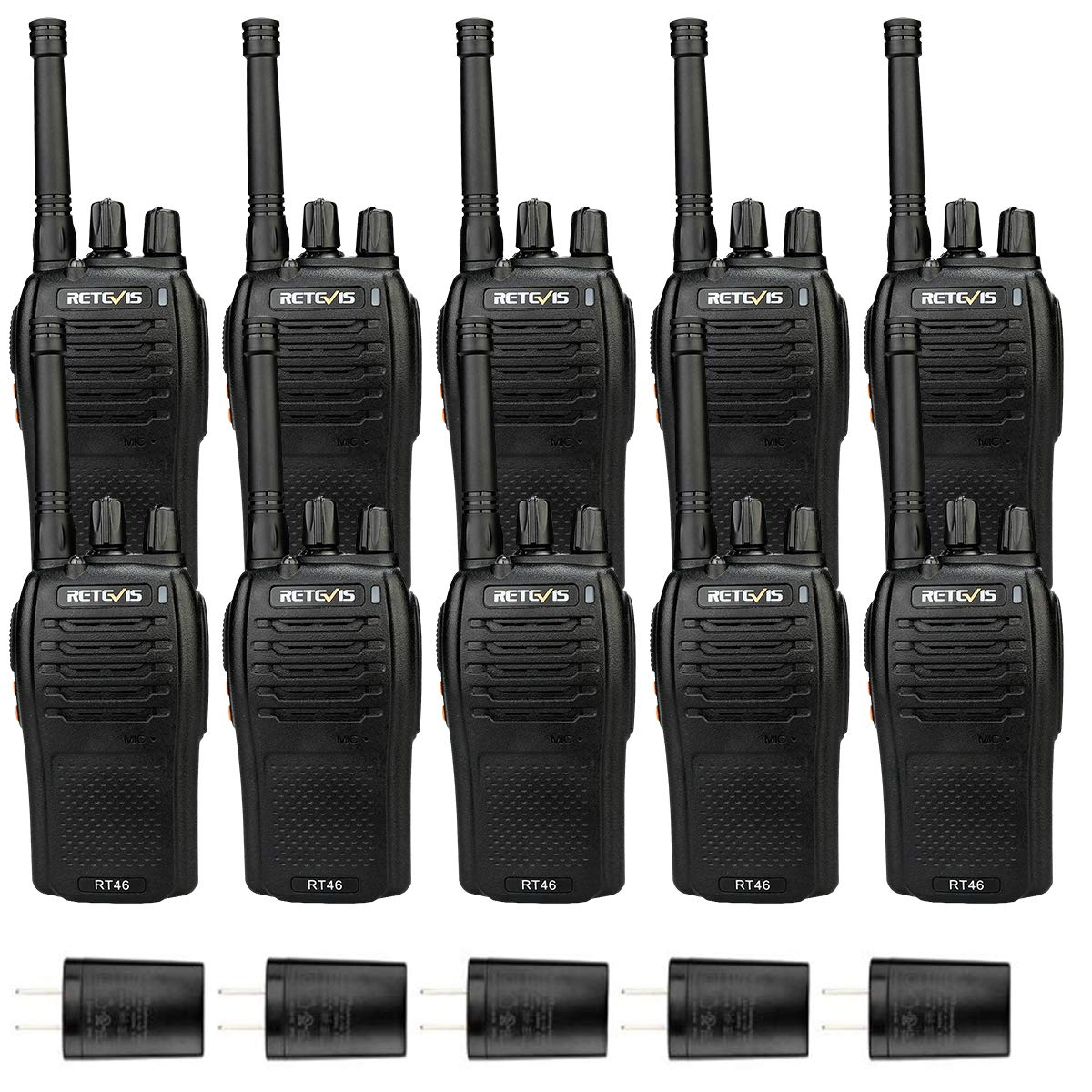 Retevis RT46 Two Way Radio Dual Power Rechargeable VOX FRS Flashlight SOS Emergency Walkie Talkies for Adults (10 Pack)
