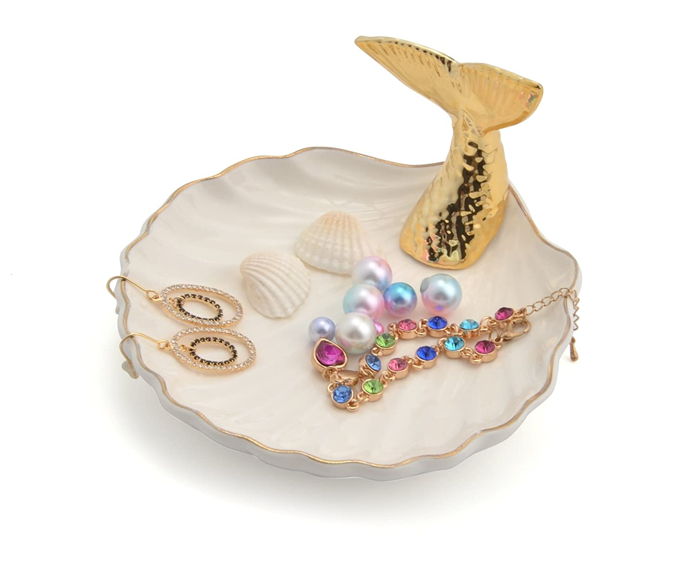 Jojuno Fish Tail Ceramic Ring Holder Dish Jewelry Decor Organizer. Mermaid Jewelry Tray. Fishtail Jewelry Plate Size 130 x 130 x 75mm / 5.12 x 5.12 x 2.95in