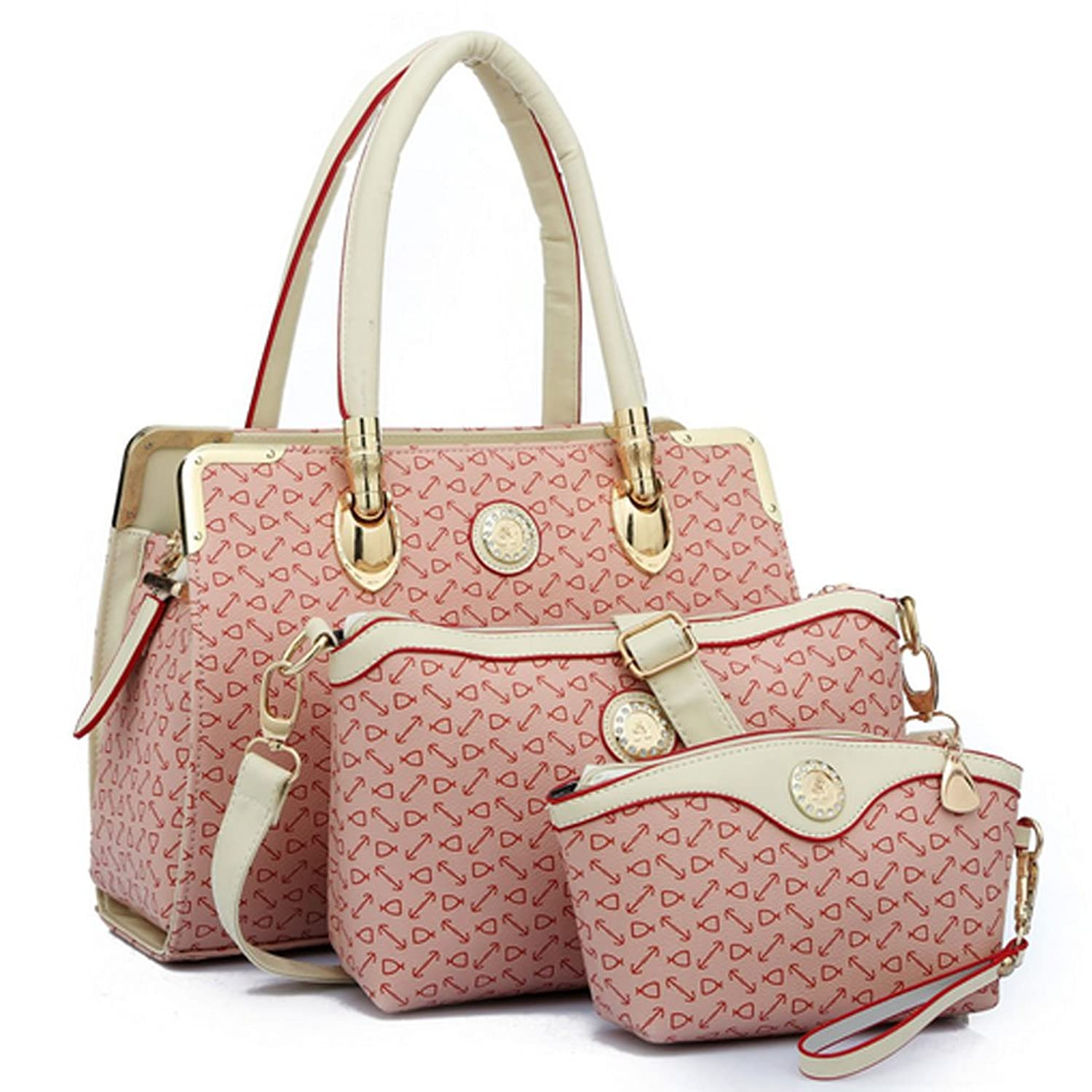 My.Monkey Womens Fashion Decorative Pattern Cute Leather Three-Piece Shoulder Bag Handbag