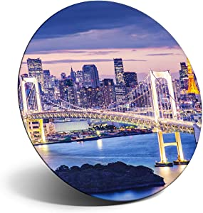 Awesome Magnet for Refrigerator, Fridge - Tokyo Bay Rainbow Bridge Japan for Office, Cabinet and Whiteboard, Magnetic Stickers, Cool Gift #13275