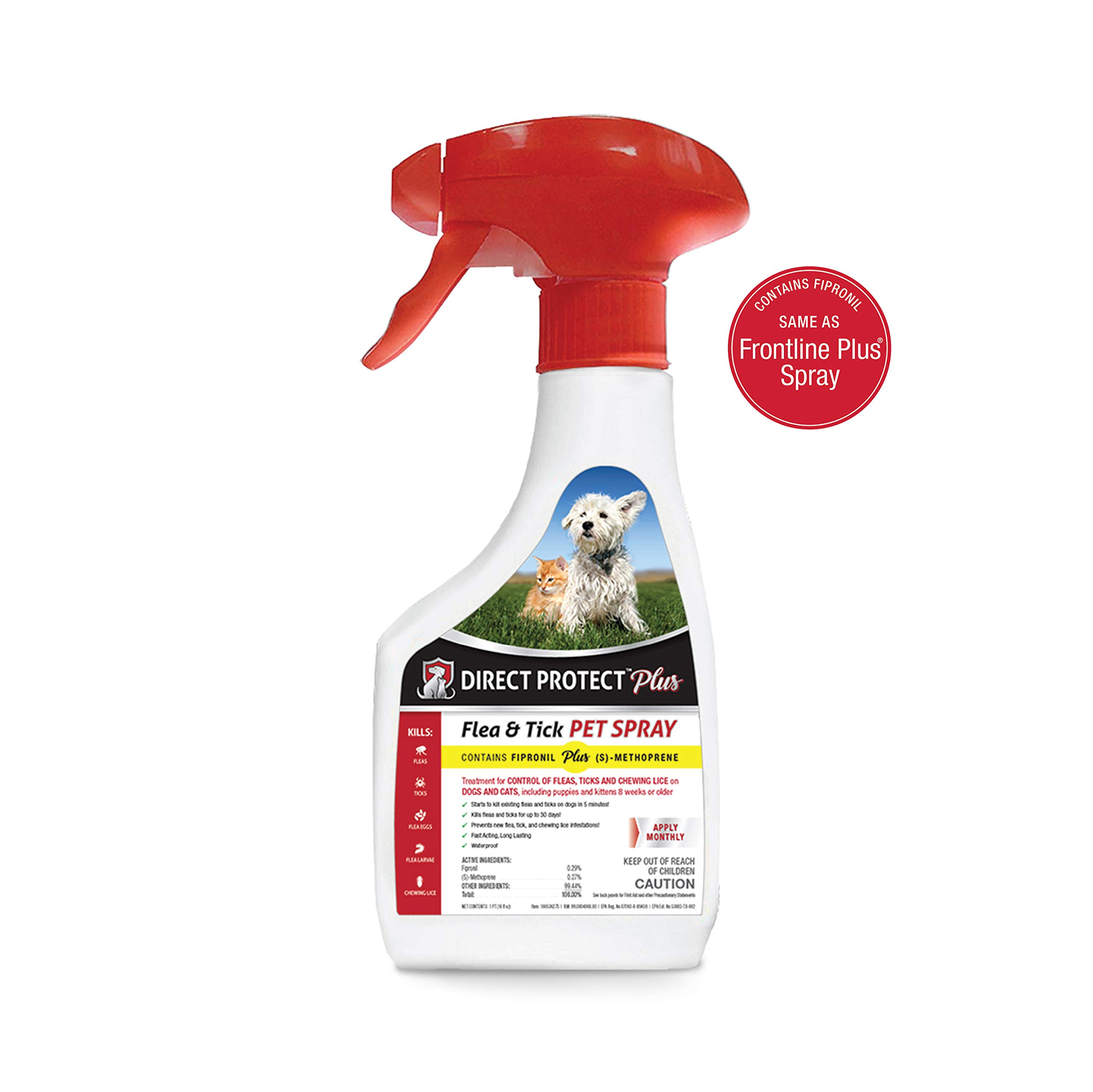 Direct Protect Plus Flea & Tick Pet Spray, for Dogs & Cats 8 weeks & Older, Waterproof & Fast Acting, 16 oz by Direct Protect Plus