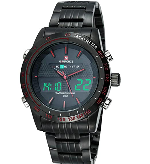 9caa106e0d5 Naviforce 9024 luxury Brand Black watches Men s Full steel Digital Sports  Wrist watch Relogio Masculino Reloj