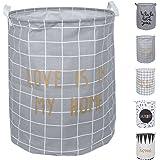 DOKEHOM DKA0817DGL 40x50CM Large Round Cotton Linen Laundry Storage Basket (Dark Grey, L)