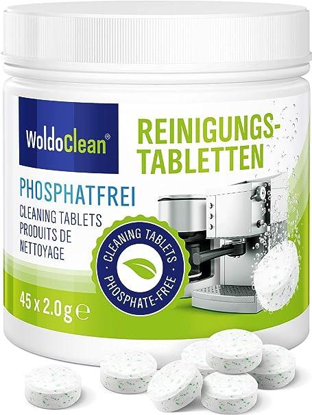 WoldoClean Pastillas de limpieza sin fosfatos para cafeteras automáticas, cafeteras, Jura, Delonghi, Bosch, Siemens Seaco 45x: Amazon.es: Hogar