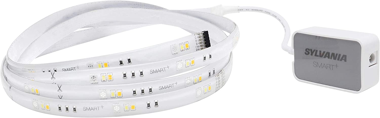 SYLVANIA Wifi Smart LED Strip Light Starter Kit 6.5ft, Indoor, Full Color & Soft White-to-Daylight, Works with Alexa and Google Home, 1 Pack