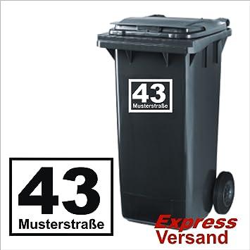 Mülltonnen Aufkleber Hausnummer Straße Oder Auch Nachname Aufkleber Aus Hochleistungsfolie Hausnummer Mülltonne Mülleimer Viele Farben Zur