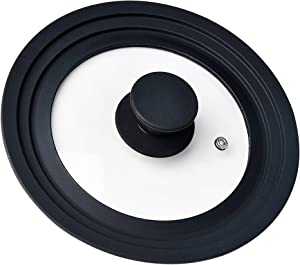 Pot Lid, Universal Small Pan Cover Skillets Tempered Glass Heat Resistant Silicone Rim, Replacement Lids Fits 6,7,8 Inch Cookware for Frying Pan, Crockpot, Cast Iron Skillet