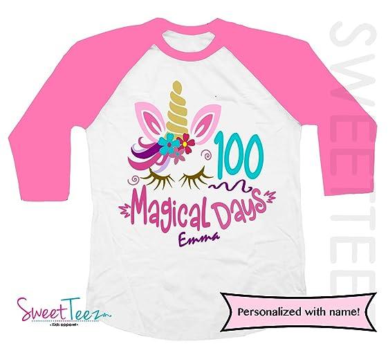 3d9e10cf14f Amazon.com: 100 days of school Personalized Unicorn Shirt Girl Pink ...